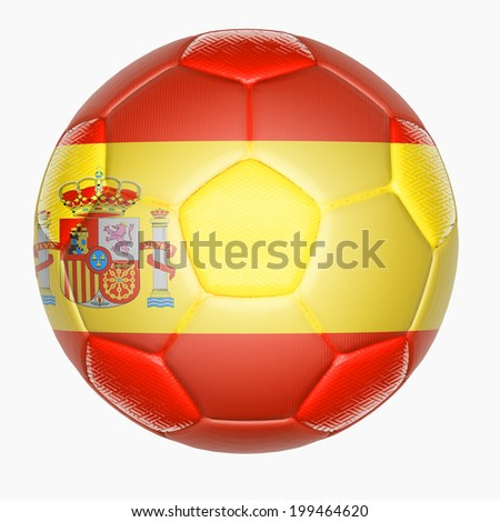 Soccer ball mapping with Spain flag  - stock photo