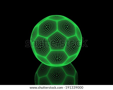 soccer-ball on a black background. render image with shine and reflection. Isolated on a black background - stock photo