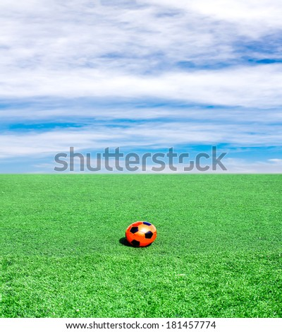 soccer ball on a green field against the sky clouds