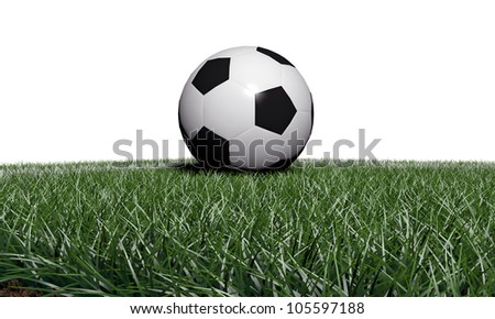soccer ball on a piece of soccer field - stock photo