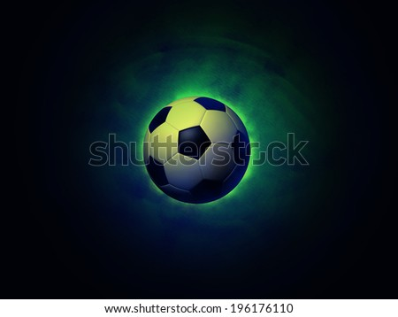 Soccer ball on a vigorously green background