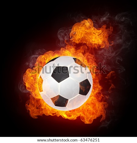 Soccer Ball on Fire isolater on Black. 2D Graphics. Computer Design. - stock photo