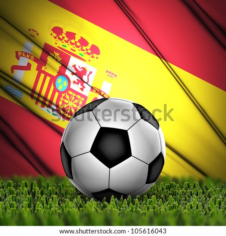 Soccer ball on grass against National Flag. Country Spain