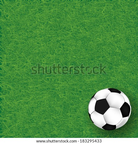 Soccer ball on grass background, illustration