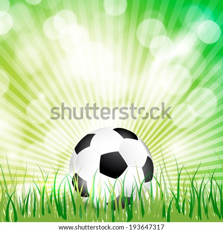Soccer ball on grass background illustration.