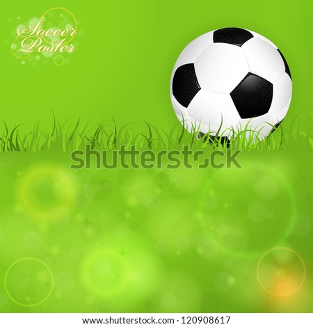 Soccer Ball on Grass with Bright Background, illustration