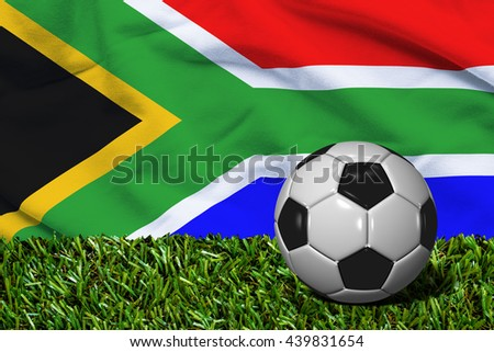 Soccer Ball on Grass with South Africa Flag Background, 3D Rendering - stock photo