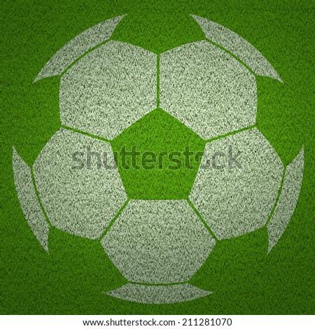 soccer ball  on green feld - stock photo