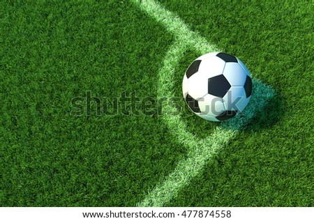 Soccer ball on green grass, Corner of soccer field .3D illustration