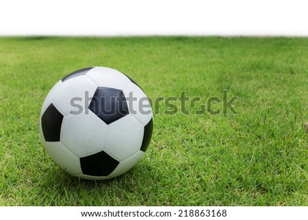 soccer ball on green grass sport game background - stock photo