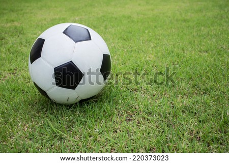 soccer ball on green grass sport game background