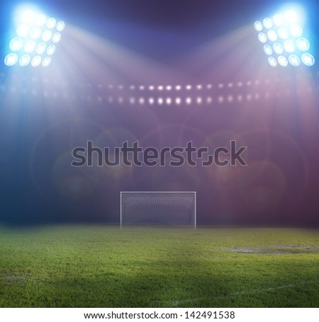 Soccer ball on penalty disk in the stadium - stock photo