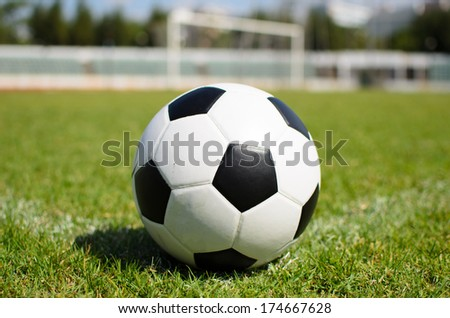 soccer ball on soccer field conner - stock photo