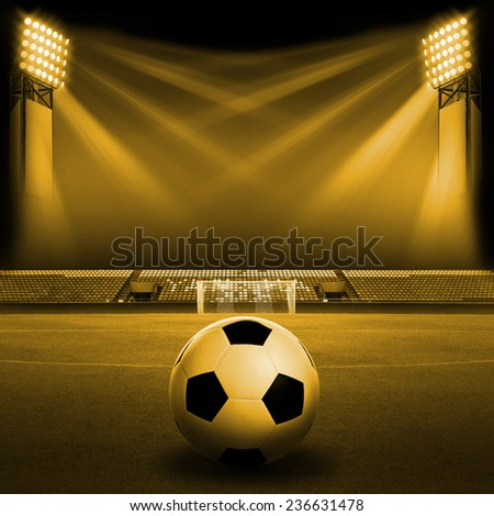 Soccer ball on Soccer field, Soccer stadium - stock photo