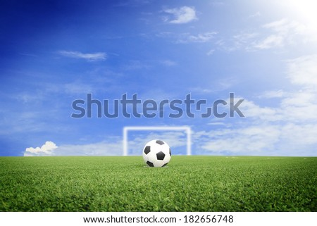 soccer ball on soccer field with blue sky - stock photo