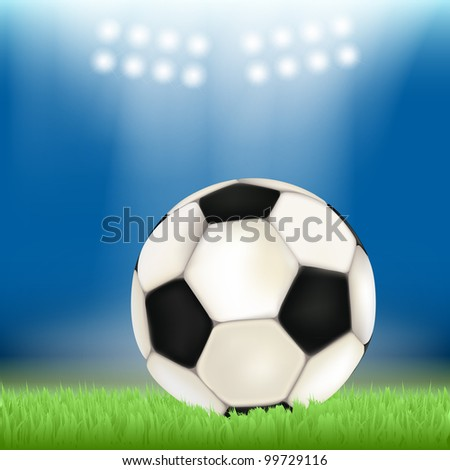 Soccer ball on stadium field grass, illuminated by floodlights. Raster copy