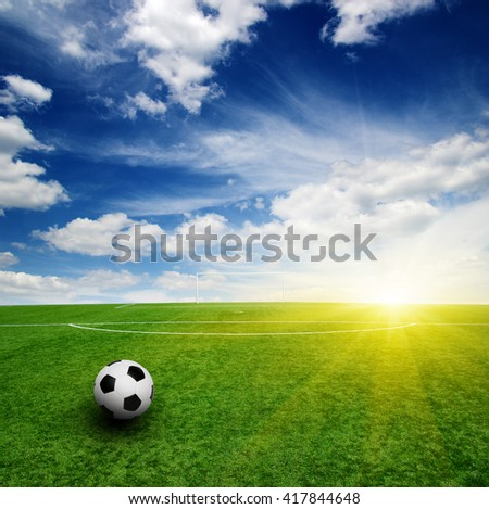 soccer ball on the grass - football - stock photo