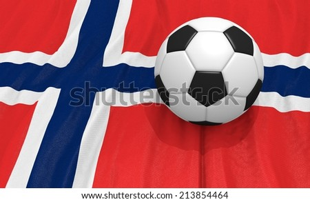Soccer ball on the norway flag - stock photo