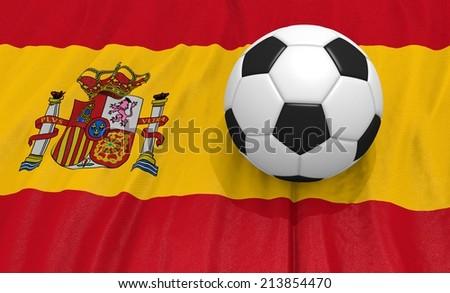 Soccer ball on the spain flag - stock photo