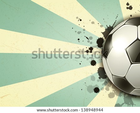 soccer ball on vintage background. Raster copy of vector illustration - stock photo
