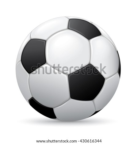 Soccer ball on white background with shadow - stock photo