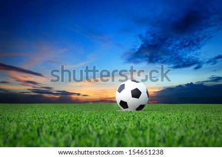 soccer ball on white line. - stock photo