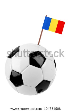 Soccer ball or football decorated with a small national flag of Chad on a tooth stick - stock photo
