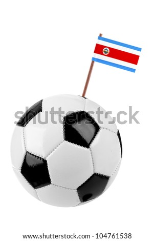 Soccer ball or football decorated with a small national flag of Costa Rica on a tooth stick - stock photo