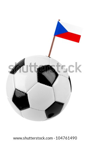 Soccer ball or football decorated with a small national flag  of Czech Republic on a tooth stick - stock photo