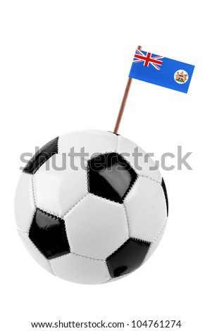 Soccer ball or football decorated with a small national flag of Hong kong on a tooth stick - stock photo