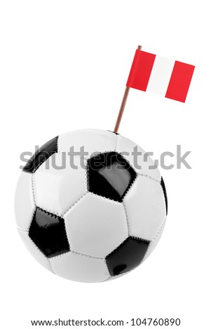 Soccer ball or football decorated with a small national flag of Peru on a tooth stick - stock photo