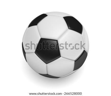Soccer ball, or football, with standard black and white colors - stock photo