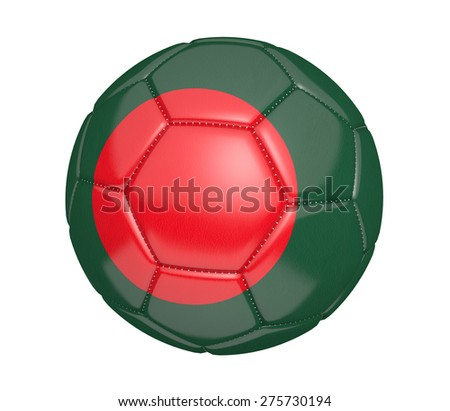 Soccer ball, or football, with the country flag of Bangladesh - stock photo