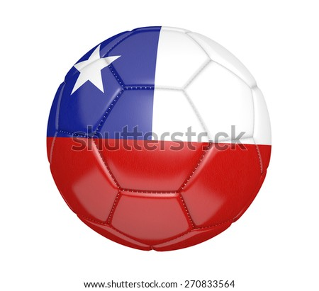 Soccer ball, or football, with the country flag of Chile - stock photo