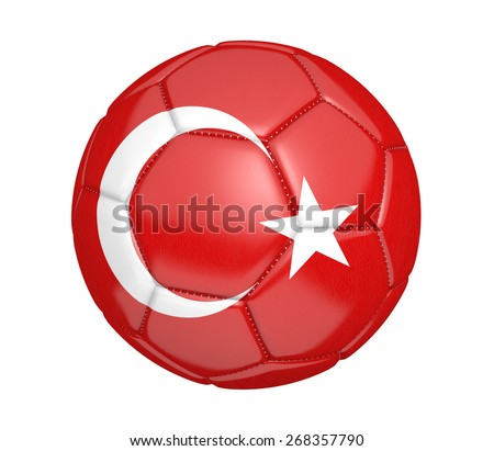 Soccer ball, or football, with the country flag of Turkey