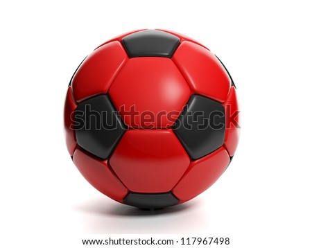 soccer ball red and black close-up on white background