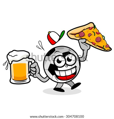 Soccer ball serving beer and pizza. Illustration of a cartoon football holding a cold beers and a pizza slice. - stock photo