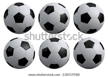 soccer ball set isolated on white background - stock photo