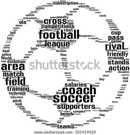 soccer ball tag cloud / word cloud  illustration  for football concept - stock photo
