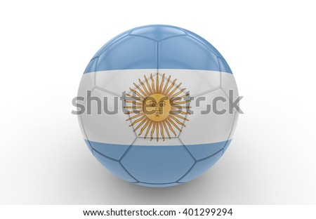 Soccer ball with argentina flag isolated on white background: 3d rendering