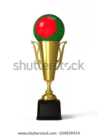 Soccer ball with Bangladesh flag, on golden trophy cup - stock photo
