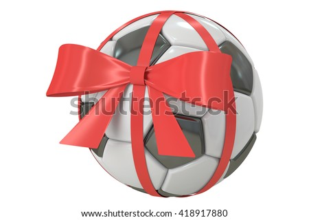 soccer ball with bow and ribbon, gift concept. 3D rendering  isolated on  white background