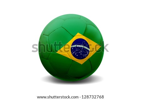 Soccer ball with Brazilian flag isolated in white