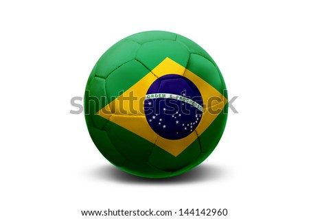 Soccer ball with Brazilian flag isolated in white - stock photo