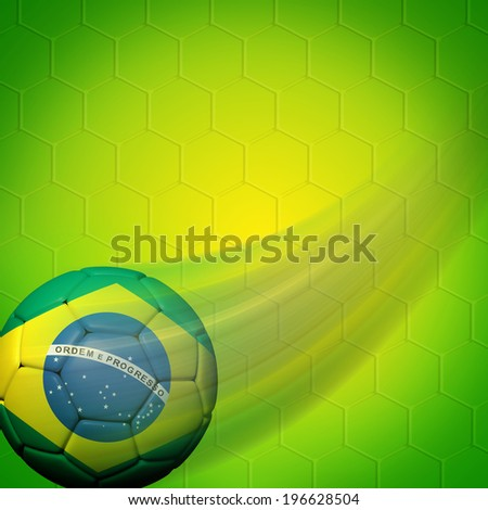 Soccer ball with Brazilian flag on color background - stock photo