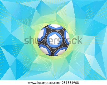 Soccer Ball With Colors of the Argentina Flag Over Polygonal Dynamic Background - stock photo