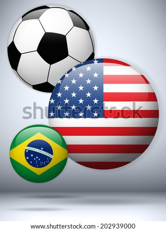 Soccer Ball with Country Flag Background - stock photo