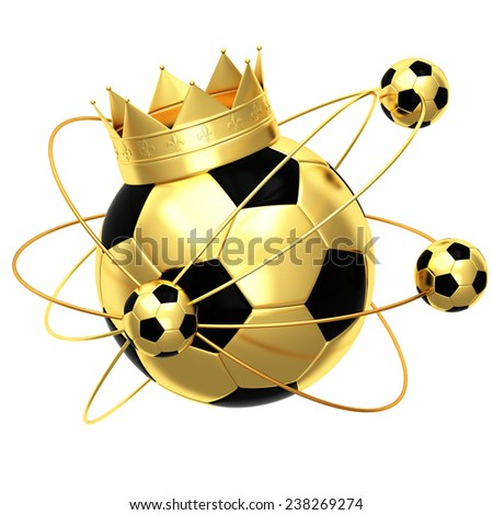 Soccer ball with crown - stock photo