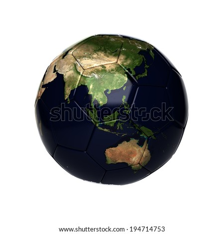soccer ball with earth map isolated on white