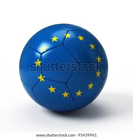 Soccer ball with European flag isolated on white - stock photo